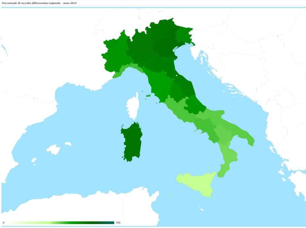 carta della percentuale di raccolta differenziata nelle regioni italiane - anno 2019