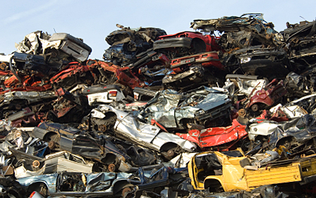 demolished  Cars and scrap metal ready to be shipped - amsterdam