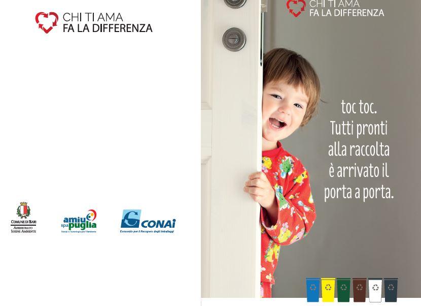 La locandina della campagna di comunicazione per la raccolta domiciliare nel comune di BARI