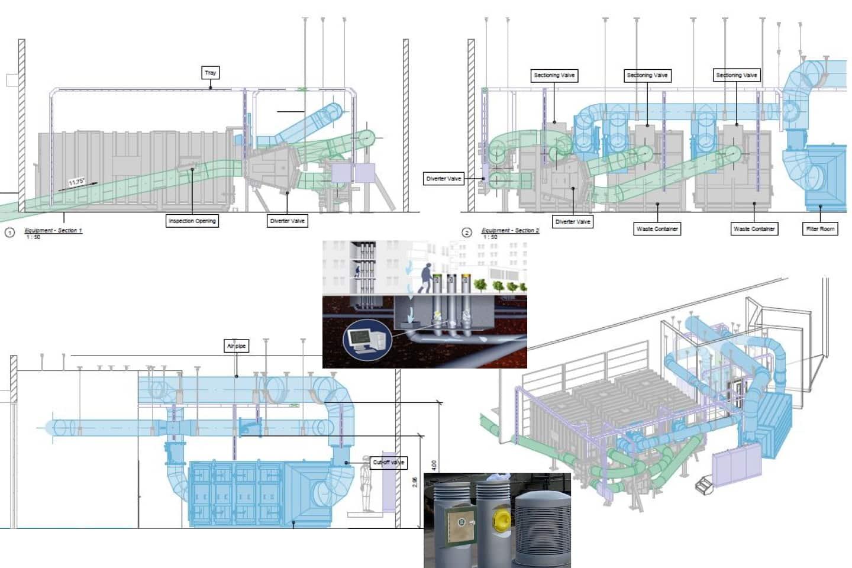Sistema pneumatico di raccolta rifiuti all'aeroporto di Venezia